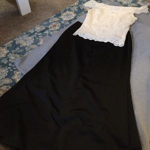 Formal Mermaid skirt and off the shoulder lace top
